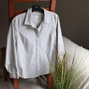 "J Jill ""Perfect Shirt"" - Gray Pinstripe"